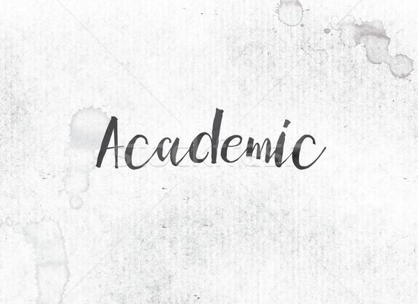 Akademicki malowany atramentu słowo czarny akwarela Zdjęcia stock © enterlinedesign