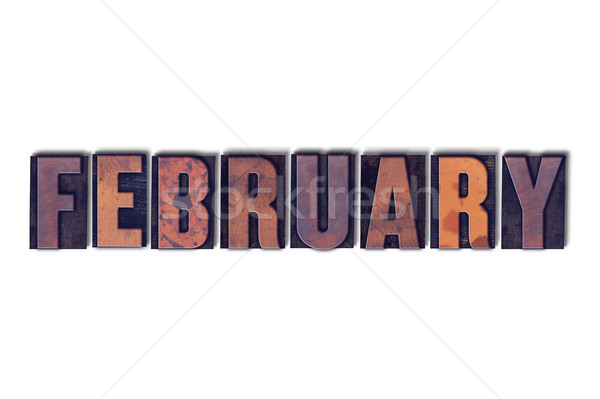 Stock photo: February Concept Isolated Letterpress Word