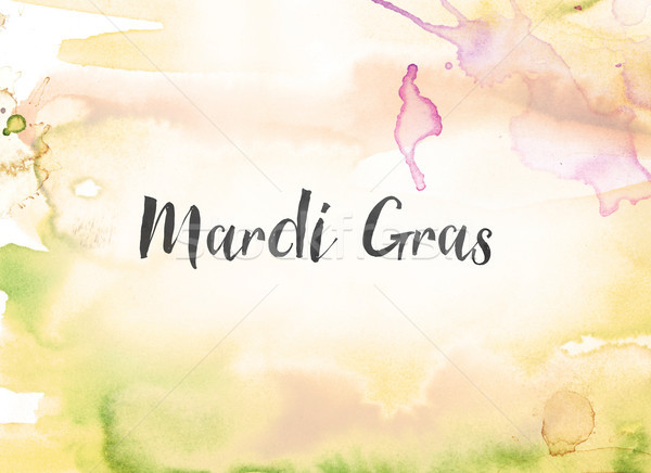 Mardi Gras Concept Watercolor and Ink Painting Stock photo © enterlinedesign