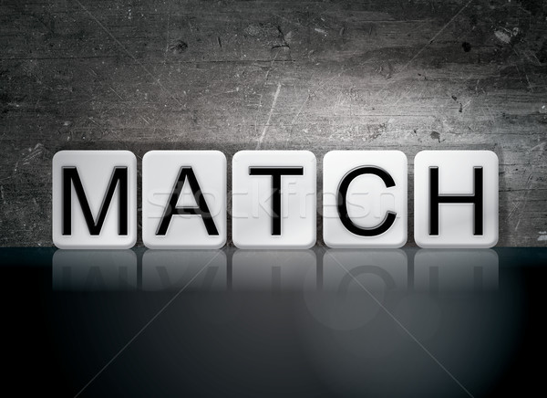 Combinar azulejos palavra escrito branco azulejos Foto stock © enterlinedesign