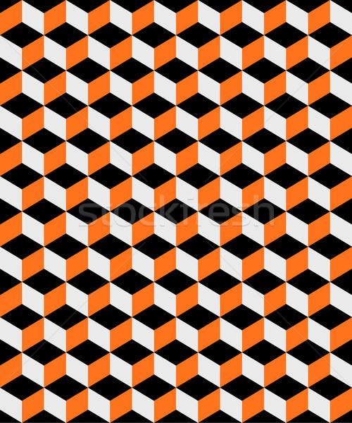 抽象的な オレンジ 黒 キューブ 実例 ストックフォト © enterlinedesign