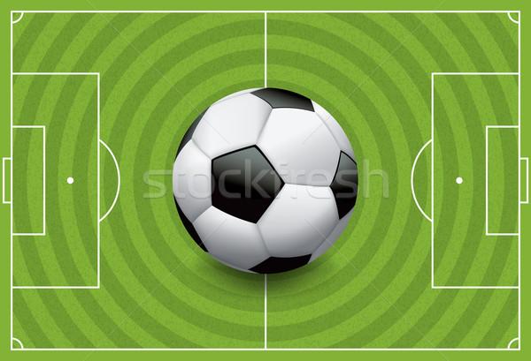 Realistisch voetbal voetbal veld gras Stockfoto © enterlinedesign