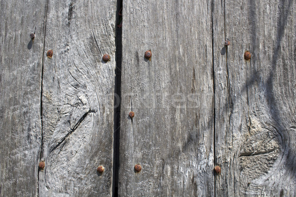 Aged Wood and Rusty Bolts Background Stock photo © enterlinedesign