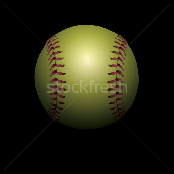 Softball on Black Shadowed Background Illustration  Stock photo © enterlinedesign