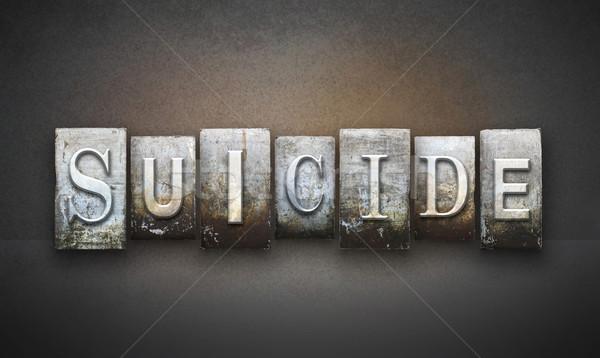 самоубийства слово написанный Vintage тип Сток-фото © enterlinedesign