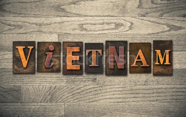 Vietnam houten woord geschreven vintage Stockfoto © enterlinedesign