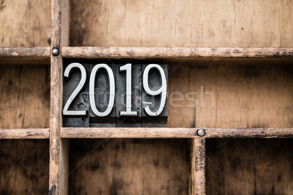 2019 Vintage Letterpress Type in Drawer Stock photo © enterlinedesign