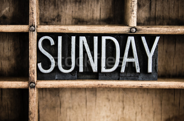 Sunday Concept Metal Letterpress Word in Drawer Stock photo © enterlinedesign