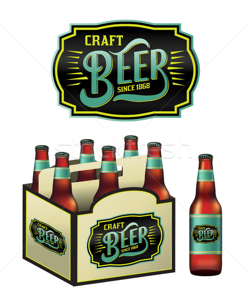 пива бутылок иллюстрация Pack Label вектора Сток-фото © enterlinedesign