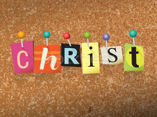 Christ Pinned Paper Concept Illustration Stock photo © enterlinedesign