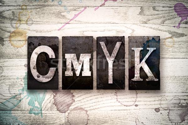 CMYK Concept Metal Letterpress Type Stock photo © enterlinedesign
