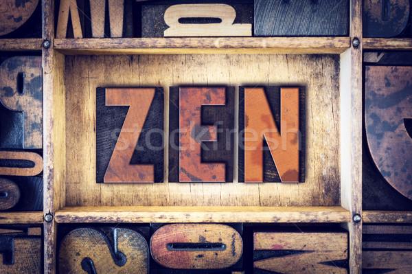 Zen type woord geschreven vintage Stockfoto © enterlinedesign