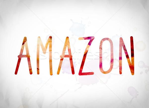 Amazon Wasserfarbe Wort Kunst geschrieben weiß Stock foto © enterlinedesign