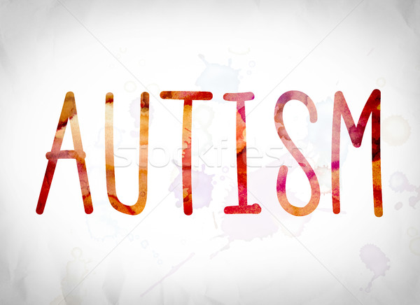 Autismo aquarela palavra arte escrito branco Foto stock © enterlinedesign