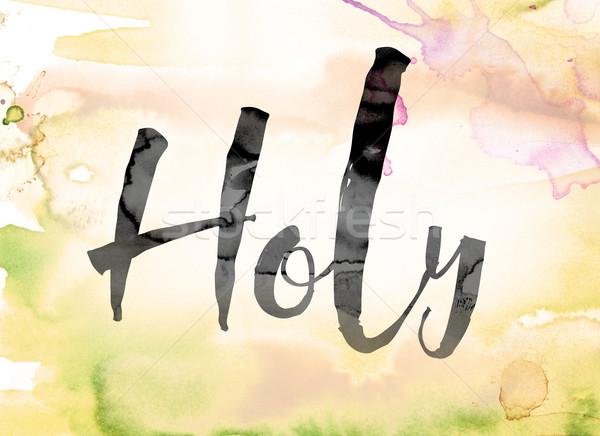 Colorato acquerello inchiostro parola arte Foto d'archivio © enterlinedesign