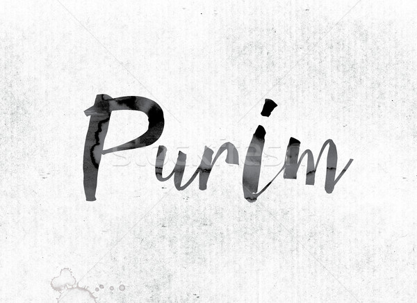 Purim Concept Painted in Ink Stock photo © enterlinedesign