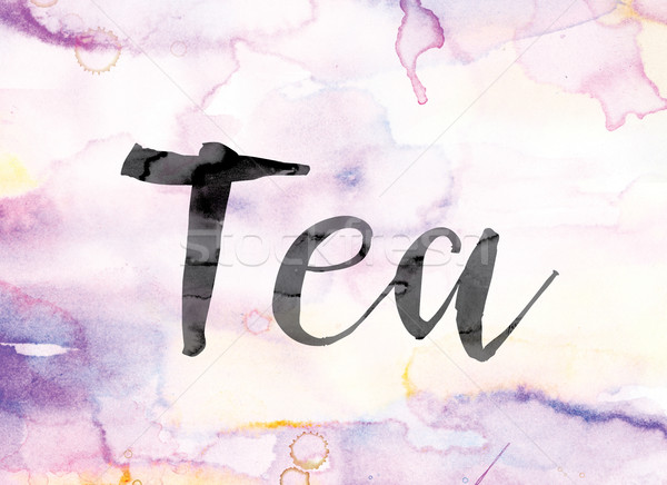 Tea Colorful Watercolor and Ink Word Art Stock photo © enterlinedesign