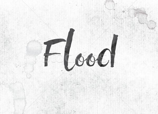Overstroming geschilderd inkt woord zwarte aquarel Stockfoto © enterlinedesign