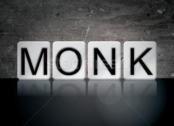 монах плиточные слово написанный белый плитки Сток-фото © enterlinedesign