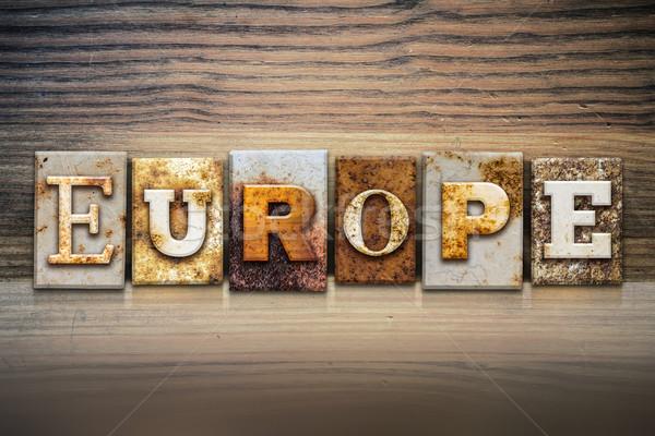Stockfoto: Europa · woord · geschreven · roestige · metaal