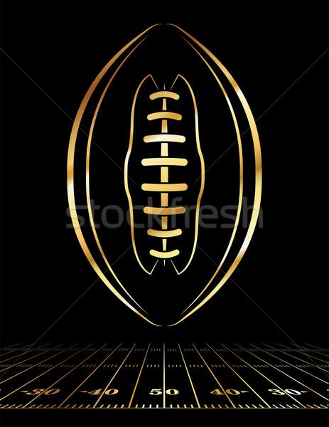 American Football Golden Icon Illustration Stock photo © enterlinedesign