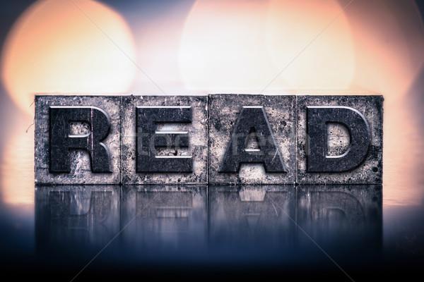 Lezen vintage type woord geschreven Stockfoto © enterlinedesign