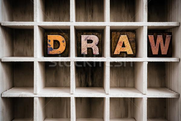 Trekken houten type woord geschreven Stockfoto © enterlinedesign