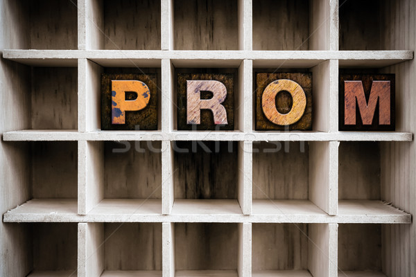 Stock photo: Prom Concept Wooden Letterpress Type in Drawer