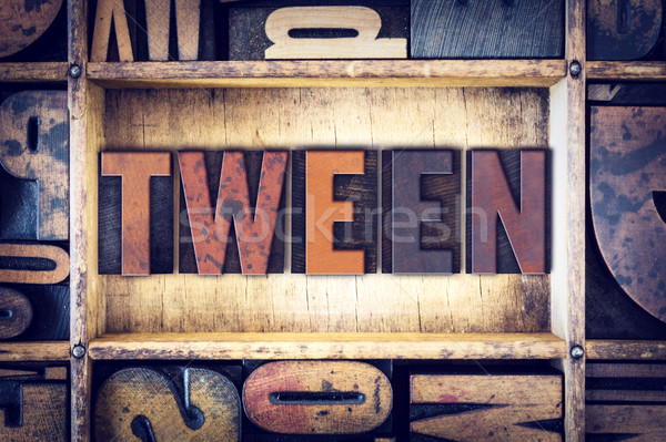 Tween Concept Letterpress Type Stock photo © enterlinedesign