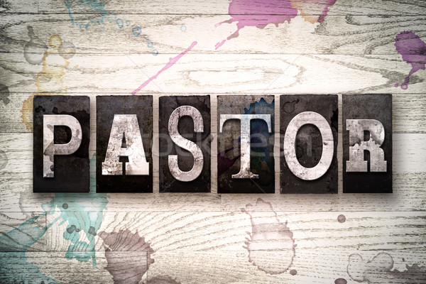 Pastor Concept Metal Letterpress Type Stock photo © enterlinedesign