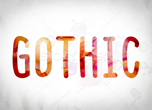Gothic Concept Watercolor Word Art Stock photo © enterlinedesign