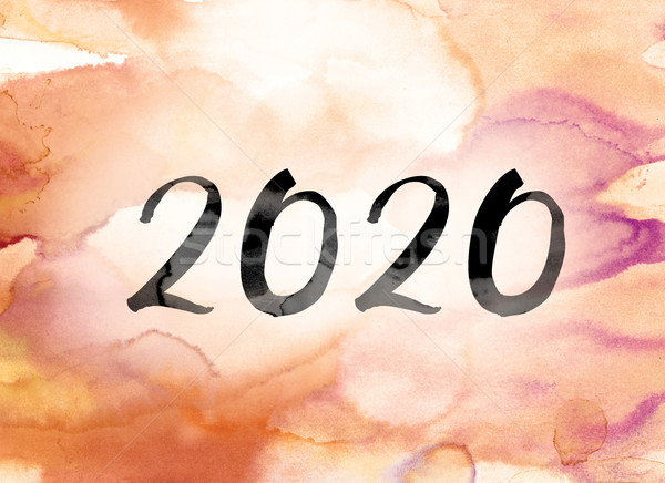 2020 Colorful Watercolor and Ink Word Art Stock photo © enterlinedesign