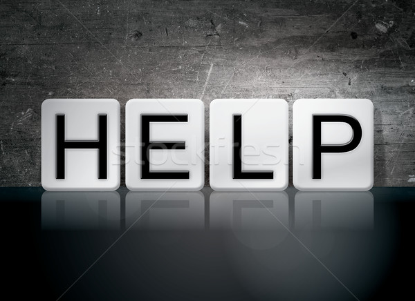 Helpen betegelde brieven woord geschreven witte Stockfoto © enterlinedesign