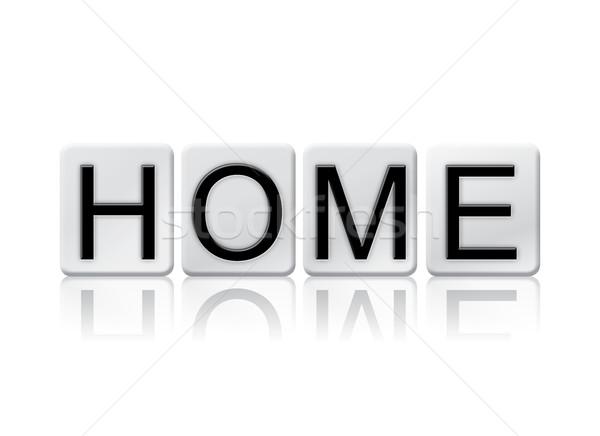 Casa isolado azulejos cartas palavra escrito Foto stock © enterlinedesign