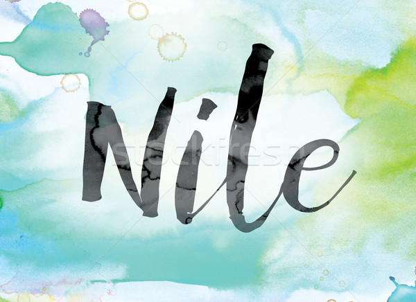 Nile Colorful Watercolor and Ink Word Art Stock photo © enterlinedesign