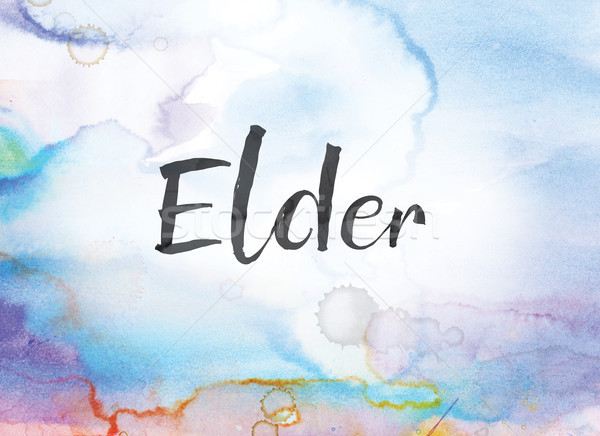 Elder Concept Watercolor and Ink Painting Stock photo © enterlinedesign