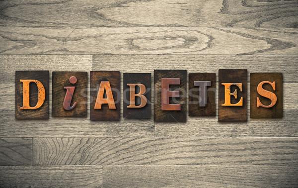 Diabète bois mot écrit vintage Photo stock © enterlinedesign