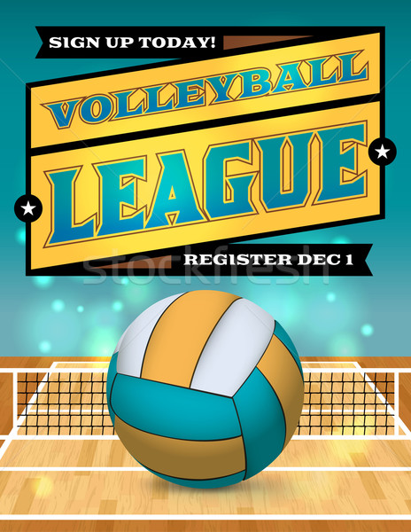 Volleyball League Flyer Illustration Stock photo © enterlinedesign