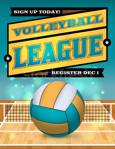 волейбол лига Flyer иллюстрация плакат вектора Сток-фото © enterlinedesign