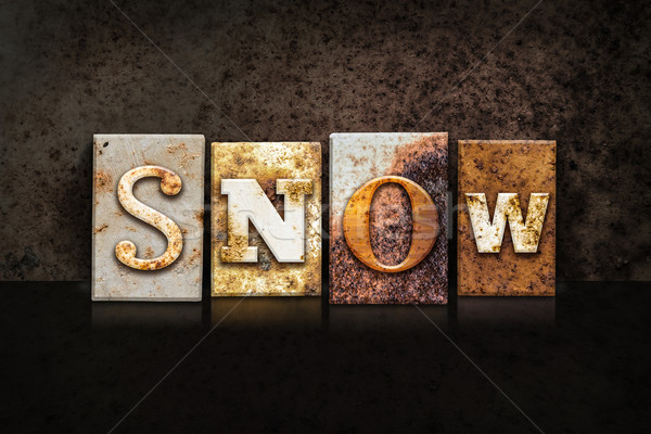 Snow Letterpress Concept on Dark Background Stock photo © enterlinedesign