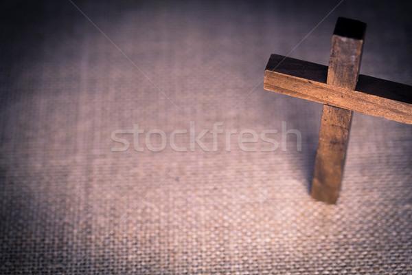 Szent fából készült keresztény kereszt légifelvétel zsákvászon Stock fotó © enterlinedesign