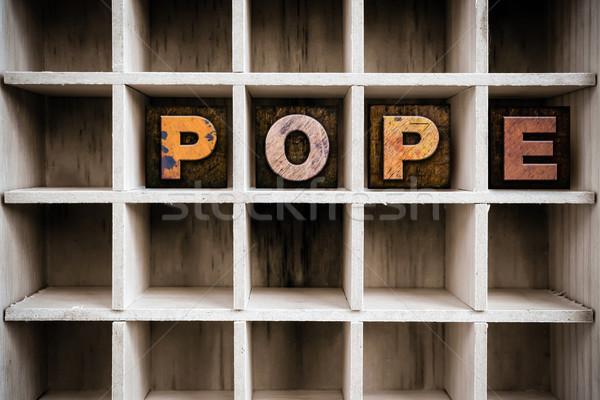 Pápa fából készült magasnyomás fiók szó Stock fotó © enterlinedesign