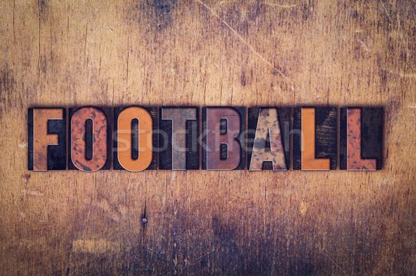 Futbol ahşap tip kelime yazılı Stok fotoğraf © enterlinedesign