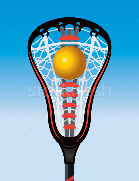 Closeup of Lacrosse Stick Pocket and Ball Stock photo © enterlinedesign