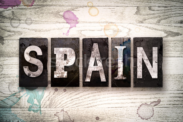 Spain Concept Metal Letterpress Type Stock photo © enterlinedesign
