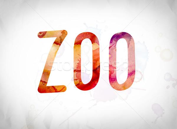 Zoo Concept Watercolor Word Art Stock photo © enterlinedesign