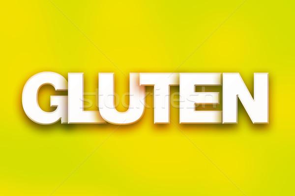 Gluten kleurrijk woord kunst geschreven witte Stockfoto © enterlinedesign
