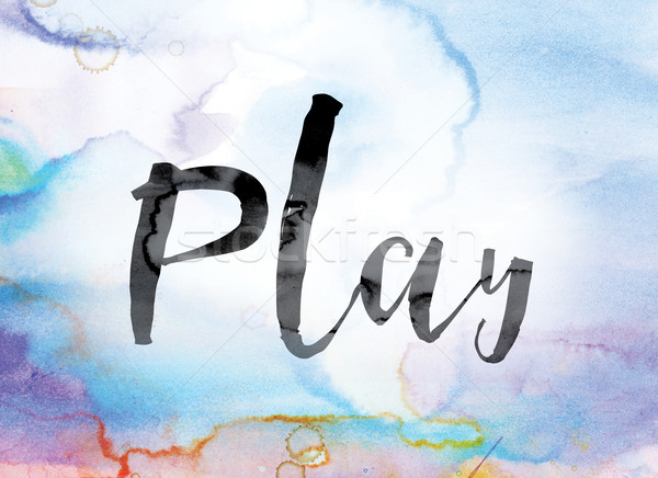 Play Colorful Watercolor and Ink Word Art Stock photo © enterlinedesign