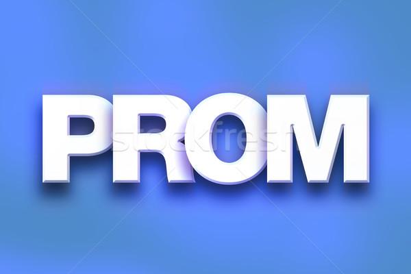Prom colorido palavra arte escrito branco Foto stock © enterlinedesign