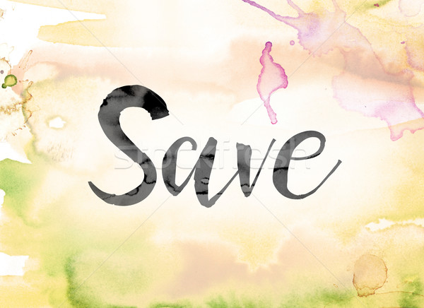 Save Colorful Watercolor and Ink Word Art Stock photo © enterlinedesign